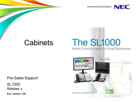 Cabinets Pre-Sales Support SL1000 Release x Doc. Version 1.00.