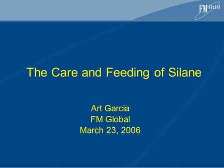 The Care and Feeding of Silane Art Garcia FM Global March 23, 2006.