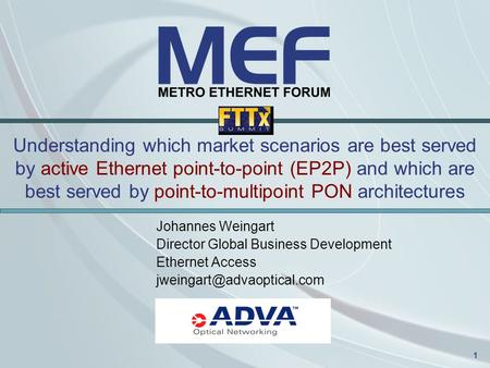 1 Understanding which market scenarios are best served by active Ethernet point-to-point (EP2P) and which are best served by point-to-multipoint PON architectures.