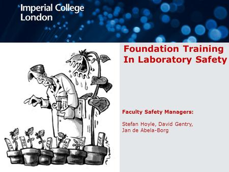 Foundation Training In Laboratory Safety Faculty Safety Managers: Stefan Hoyle, David Gentry, Jan de Abela-Borg.