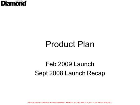 Product Plan Feb 2009 Launch Sept 2008 Launch Recap.