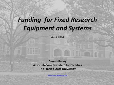 Funding for Fixed Research Equipment and Systems