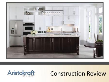Construction Review. Standard Construction Wall Cabinets A.3/8 thick furniture board sides with matching exterior laminate B.½ thick furniture board.