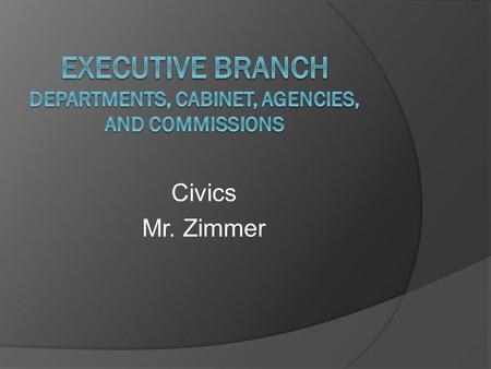 Civics Mr. Zimmer. The Executive Departments and the Cabinet The President is assisted by an office staff and 15 cabinet departments Each department has.