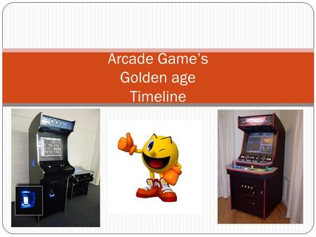 Arcade Games Golden age Timeline. Contents 1978 1979 1980 1981 1982 1983 1984 1985 1986.