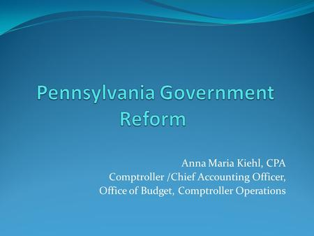 Pennsylvania Government Reform