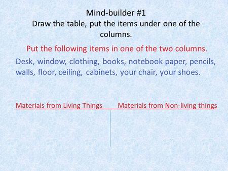Mind-builder #1 Draw the table, put the items under one of the columns. Put the following items in one of the two columns. Desk, window, clothing, books,
