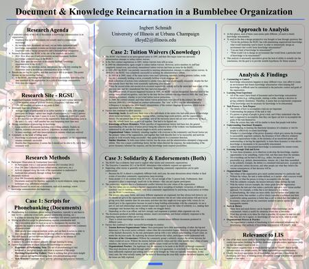Document & Knowledge Reincarnation in a Bumblebee Organization Research Methods Participant Observation & Unstructured Interviews 46 Participants over.