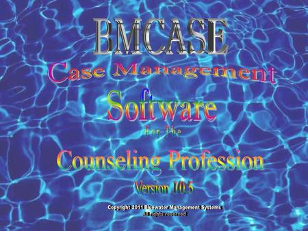 BMCASE Case Management Software Copyright 2011 Bluewater Management System All rights reserved For The Counseling Profession BMCASE© Case Management software.