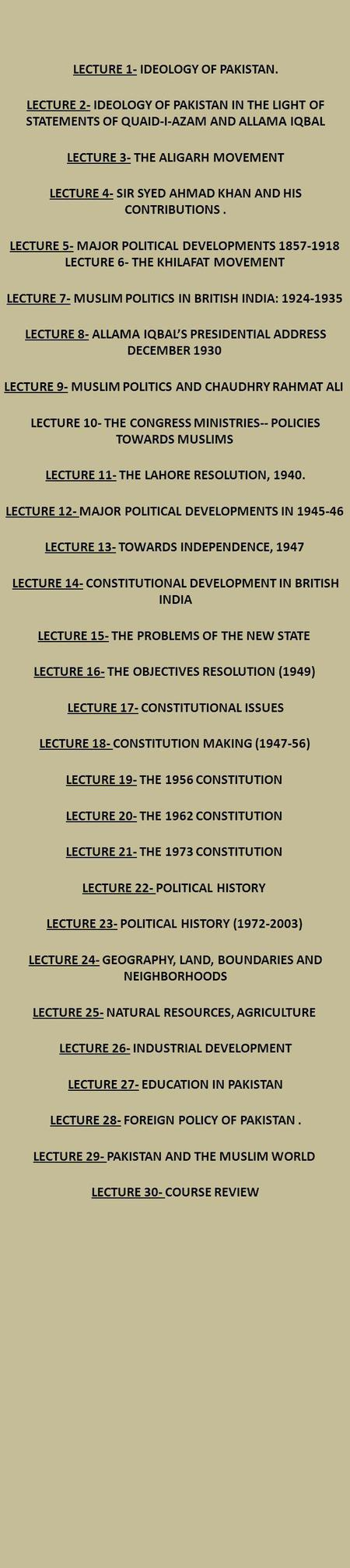 LECTURE 1- IDEOLOGY OF PAKISTAN. LECTURE 2- IDEOLOGY OF PAKISTAN IN THE LIGHT OF STATEMENTS OF QUAID-I-AZAM AND ALLAMA IQBAL LECTURE 3- THE ALIGARH MOVEMENT.