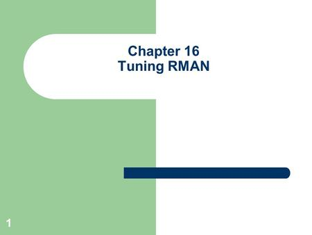 1 Chapter 16 Tuning RMAN. 2 Background One of the hardest chapters to develop material for Tuning RMAN can sometimes be difficult Authors tried to capture.