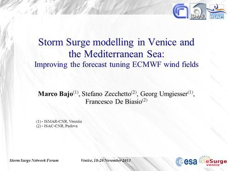 Storm Surge Network ForumVenice, 18-20 November 2013 Storm Surge modelling in Venice and the Mediterranean Sea: Improving the forecast tuning ECMWF wind.