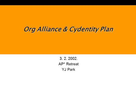 3. 2. 2002. AP* Retreat YJ Park Org Alliance & Cydentity Plan.