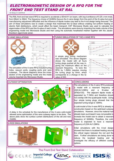 The Front End Test Stand Collaboration ELECTROMAGNETIC DESIGN OF A RFQ FOR THE FRONT END TEST STAND AT RAL A. Kurup, A. Letchford The RAL front end test.