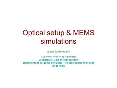 Optical setup & MEMS simulations