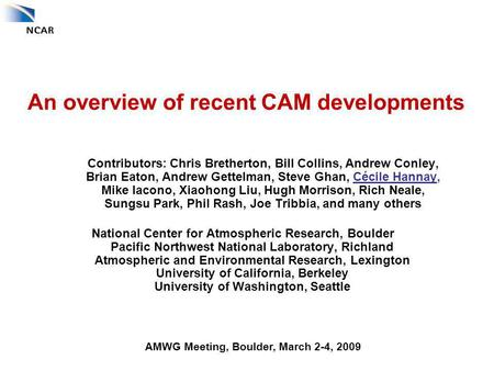 An overview of recent CAM developments Contributors: Chris Bretherton, Bill Collins, Andrew Conley, Brian Eaton, Andrew Gettelman, Steve Ghan, Cécile Hannay,