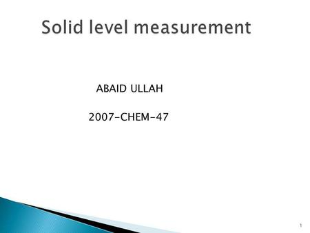 Solid level measurement