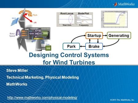 1 © 2011 The MathWorks, Inc. Designing Control Systems for Wind Turbines Steve Miller Technical Marketing, Physical Modeling MathWorks Root LocusBode Plot.