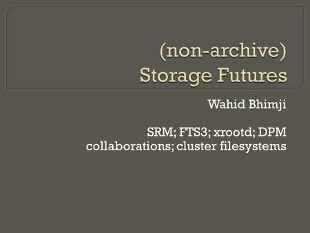 Wahid Bhimji SRM; FTS3; xrootd; DPM collaborations; cluster filesystems.