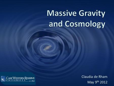 Claudia de Rham May 9 th 2012. Massive Gravity The notion of mass requires a reference ! Flat Metric Metric.