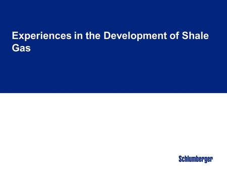 Experiences in the Development of Shale Gas