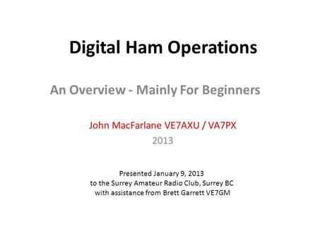 Digital Ham Operations