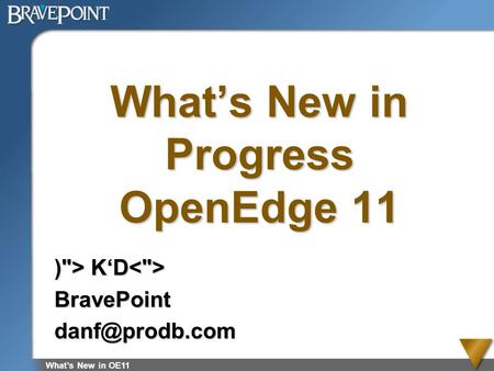 What's New in Progress OpenEdge 11