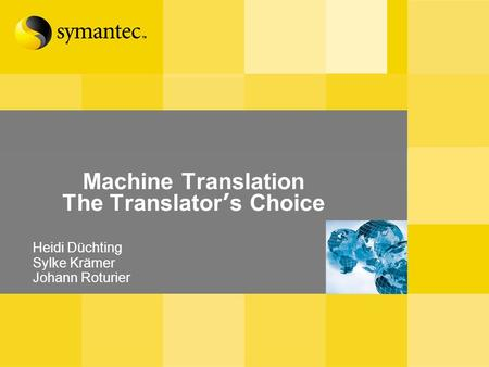Machine Translation The Translator s Choice Heidi Düchting Sylke Krämer Johann Roturier.