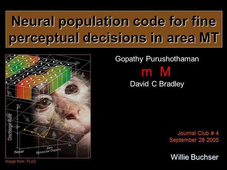 Neural population code for fine perceptual decisions in area MT Gopathy Purushothaman m M David C Bradley Image from: PLoS Journal Club # 4 September 28.