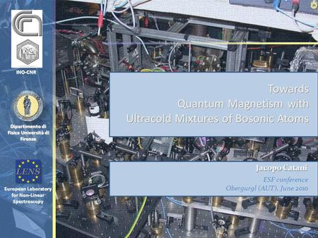 European Laboratory for Non-Linear Spectroscopy Dipartimento di Fisica Università di Firenze Towards Quantum Magnetism with Ultracold Mixtures of Bosonic.