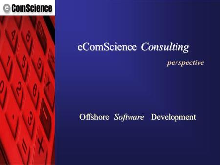 © eComScience Pvt. Ltd. 2001 OffshoreSoftwareDevelopment eComScience Consulting perspective.