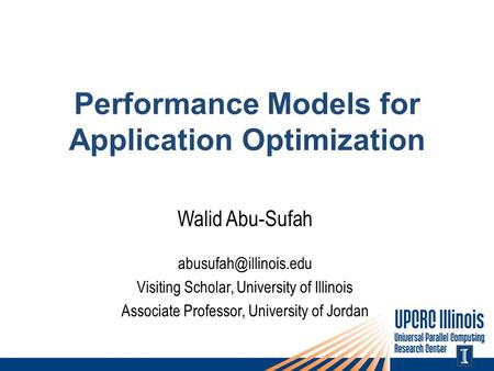 Performance Models for Application Optimization