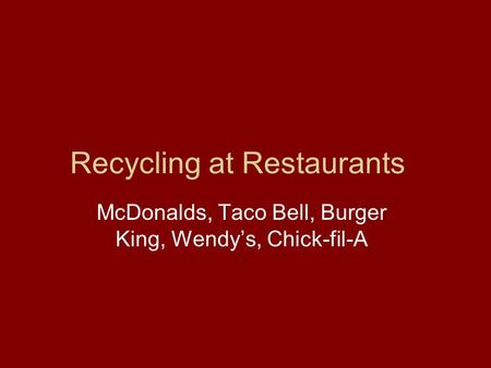 Recycling at Restaurants