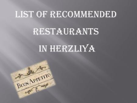 List of recommended restaurants