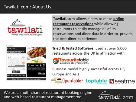 Tawilati.com: About Us Tried & Tested Software: used at over 5,000 restaurants across the UK in affiliation with Business model highly successful across.