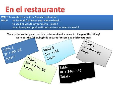 Work out the following bills in Euros for some Spanish costumers