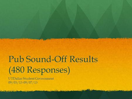 Pub Sound-Off Results (480 Responses) UTDallas Student Government 09/03/13-09/07/13.