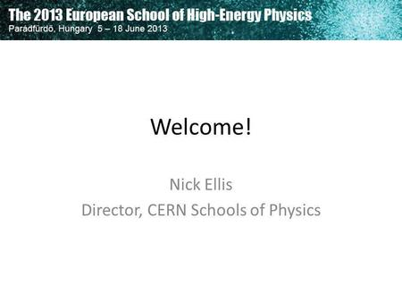 Nick Ellis Director, CERN Schools of Physics
