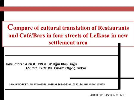 Compare of cultural translation of Restaurants and Café/Bars in four streets of Lefkosa in new settlement area Instructors : ASSOC. PROF.DR.Uğur Ulaş Dağlı.