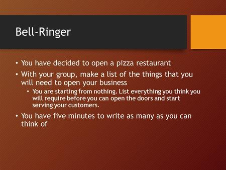 Bell-Ringer You have decided to open a pizza restaurant