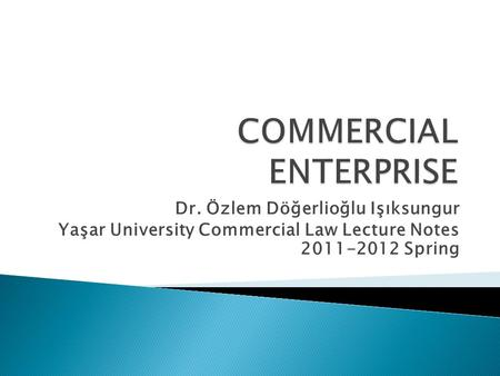 COMMERCIAL ENTERPRISE
