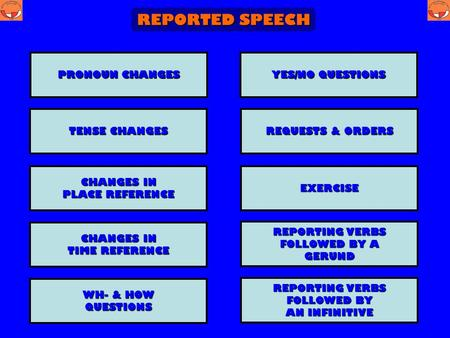 REPORTED SPEECH REPORTING VERBS REPORTING VERBS FOLLOWED BY A FOLLOWED BY A GERUND CHANGES IN CHANGES IN TIME REFERENCE TIME REFERENCE YES/NO QUESTIONS.