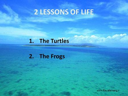 2 LESSONS OF LIFE 1.The Turtles 2.The Frogs www.Rayafarhang.ir.
