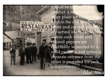 It shall be unlawful to conduct a restaurant or other place for the serving of food in the city, at which white and colored people are served in the same.