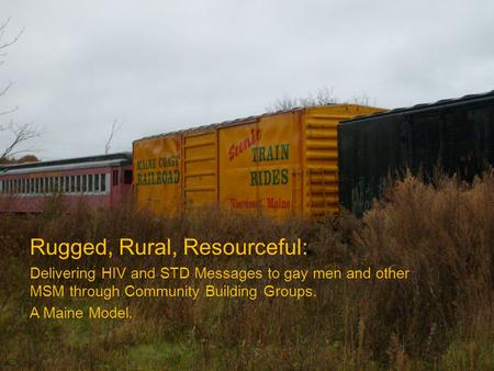 Rugged, Rural, Resourceful: Delivering HIV and STD Messages to gay men and other MSM through Community Building Groups. A Maine Model.
