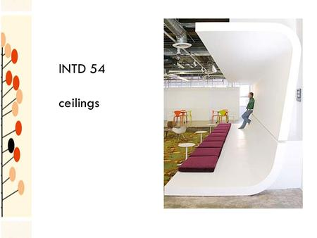 INTD 54 ceilings. should not be considered as merely a flat surface over our heads integral part of a room affects space, light, heat and sound ceiling.