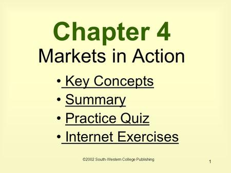 1 Chapter 4 Markets in Action Key Concepts Key Concepts Summary Practice Quiz Internet Exercises Internet Exercises ©2002 South-Western College Publishing.