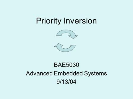 Priority Inversion BAE5030 Advanced Embedded Systems 9/13/04.