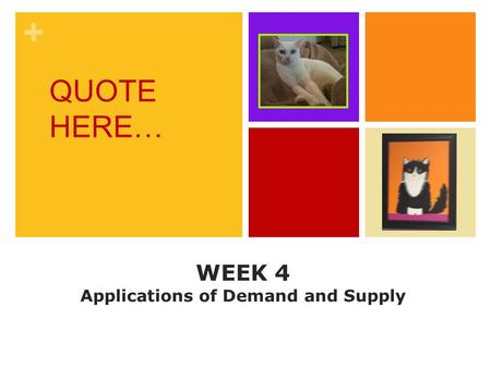+ WEEK 4 Applications of Demand and Supply QUOTE HERE…