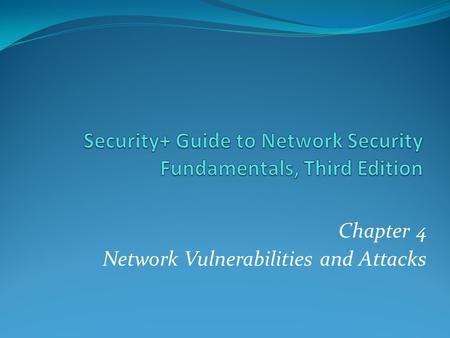 Chapter 4 Network Vulnerabilities and Attacks. Cyberwar and Cyberterrorism Titan Rain - Attacks on US gov't and military computers from China breached.